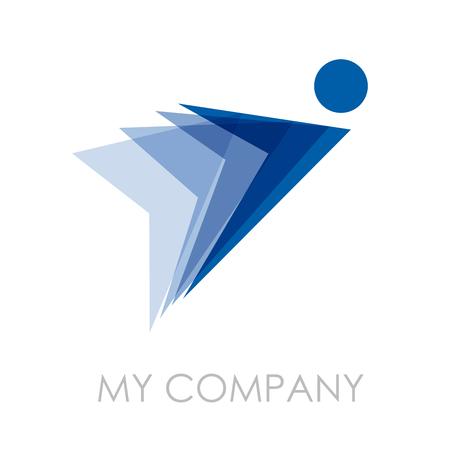 arrow logo: Vector sign Man in flight