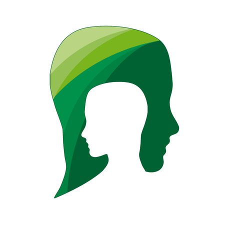 Vector de la muestra de personas ecológica, piense el verde