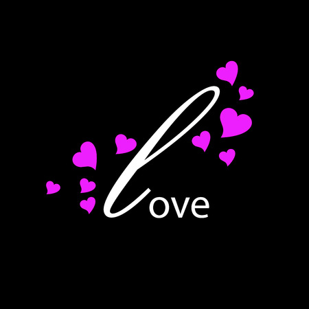 intimate: Vector sign initial letter L, love company