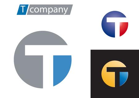 letter t: Vector sign spherical letter T