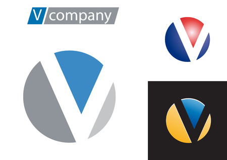 Vector sign spherical letter V