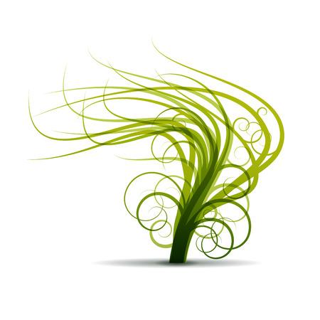 shaken: Vector sign abstract tree shaken by the wind