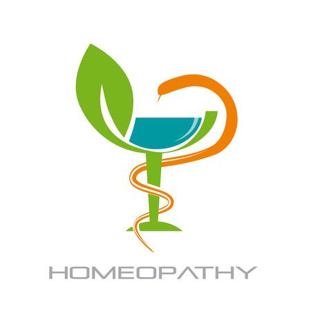 Vector de la muestra la homeopatía, la medicina alternativa