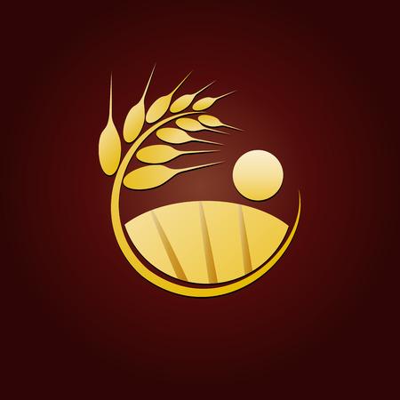 Vector sign golden wheat