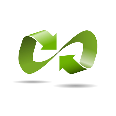 convergence: Vector sign infinite with arrows. Green recycling