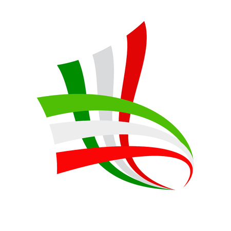 Vector sign abstract italian and mexican flag Illustration