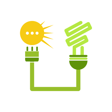 installer: Vector sign Solar Energy, green lamp Illustration