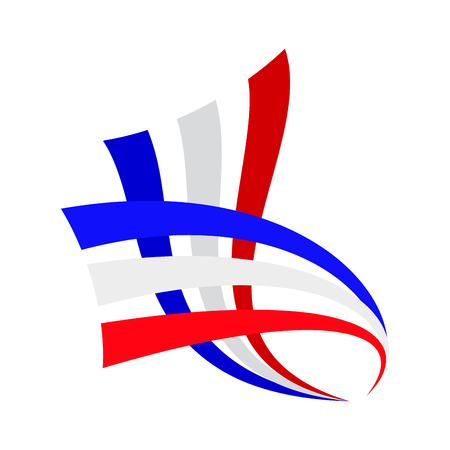 french flag: Vector sign abstract french and english flag