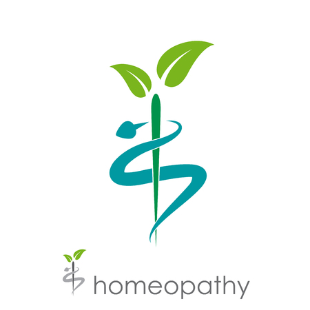 Vector sign homeopathy, alternative medicine 일러스트
