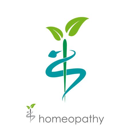 Wektor znak homeopatia, medycyna alternatywna