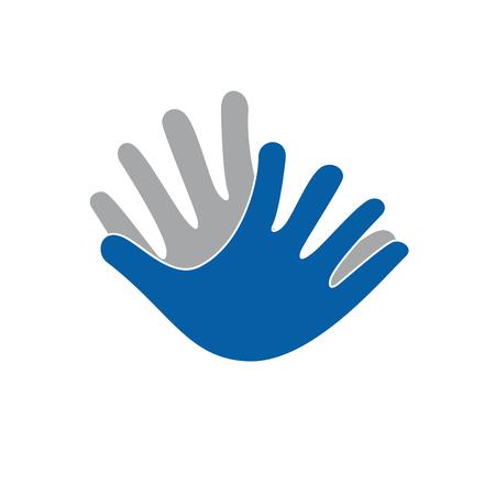 Vector sign Hands together for friendship Illustration