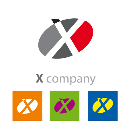 initial: Vector Oval sign initial letter X Illustration