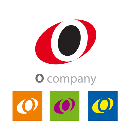 initial: Vector Oval sign initial letter O