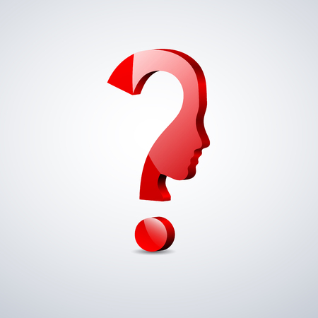 Vector 3d sign question mark in the head