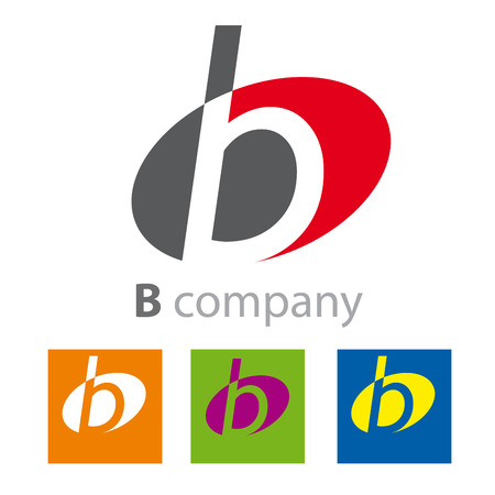 initial: Vector Oval sign initial letter B