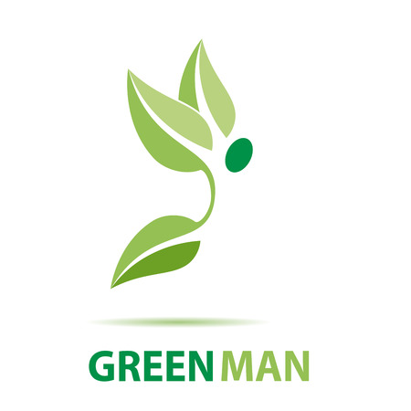 green man: Vector sign green man flying Illustration