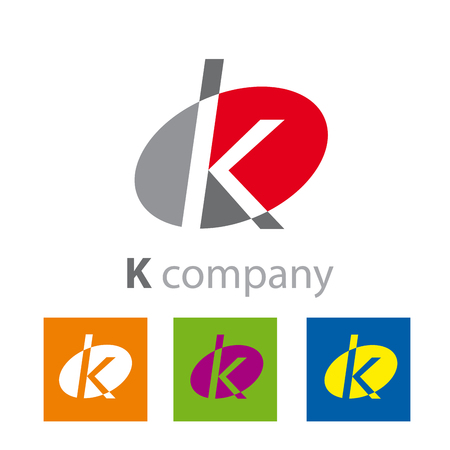 initial: Vector Oval sign initial letter K Illustration