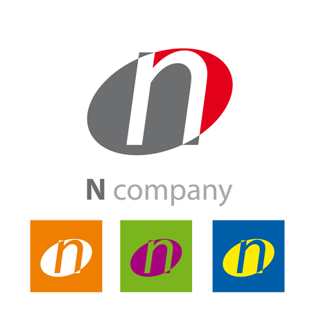 initial: Vector Oval sign initial letter N Illustration