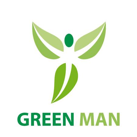 green man: Vector sign green man flying Illustration