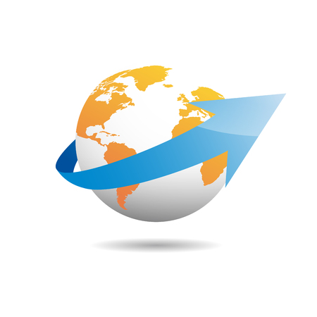 exports: sign globe with arrow. Shipments and exports