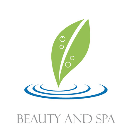 repose: Vector sign leaf and water. Concept of spa, yoga and relax Illustration