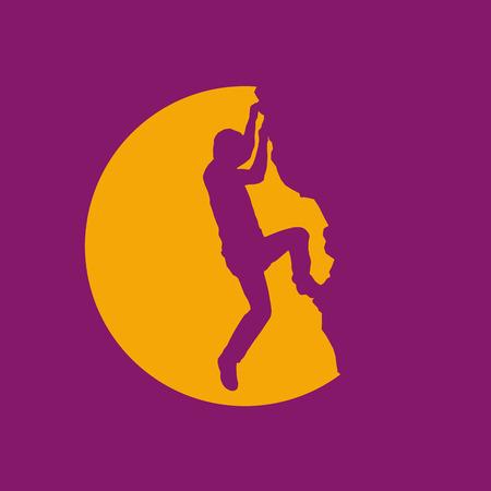rock climber: Vector sign rock climber, successful concept
