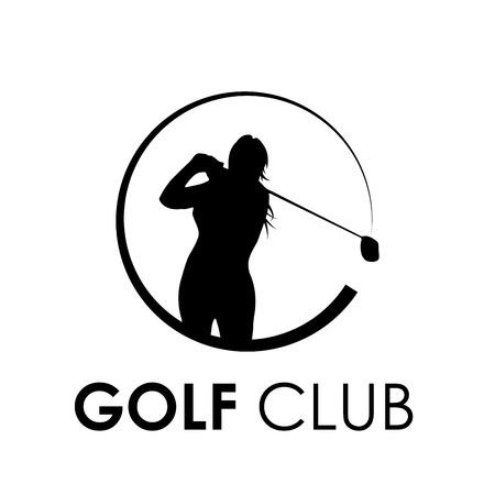 woman golf: Vector sign woman play golf