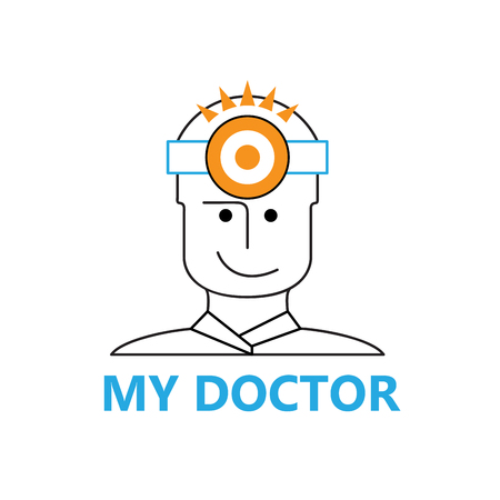 headlamp: Vector sign doctor with headlamp Illustration