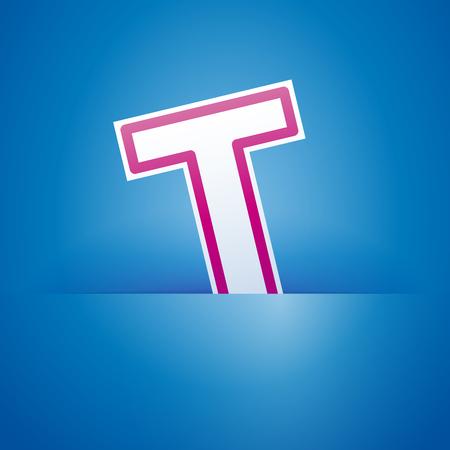 slit: Vector sign pocket with letter T Illustration