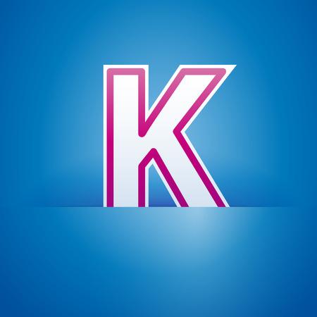 slit: Vector sign pocket with letter K Illustration