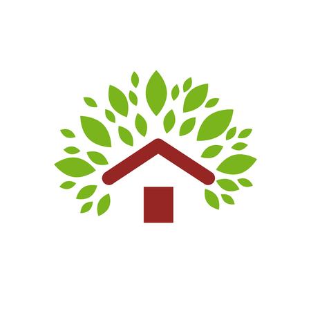 construction companies: Vector sign green house Illustration
