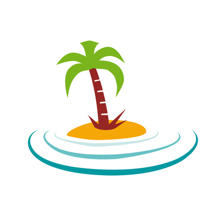 tour operator: Vector sign palm island Illustration