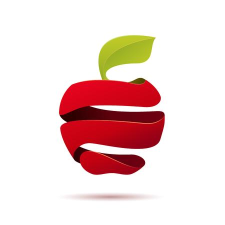 peeled: Vector sign peeled apple