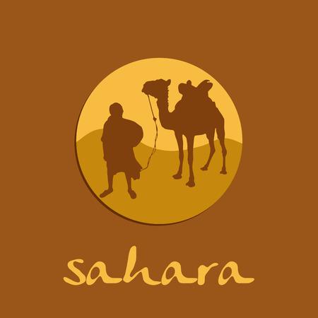 sahara desert: Vector sign sahara, caravan in the desert