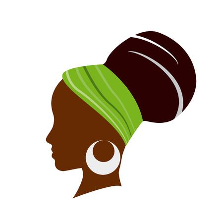 모자와 함께 아프리카 여자의 벡터 프로파일