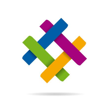 sinergia: Vector resumen de sesi�n de concepto de sinergia y trabajo en equipo, cuatro colores Vectores