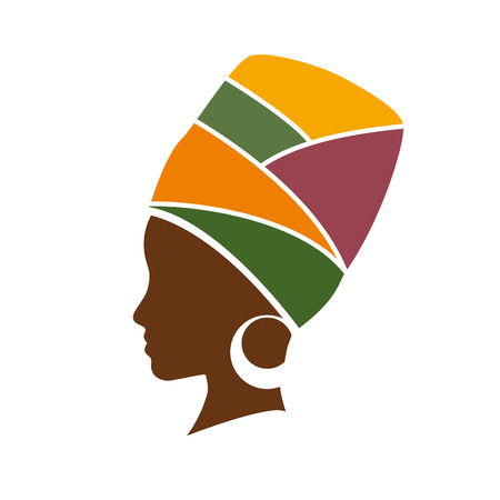 african business: Vector profile of african woman with hat