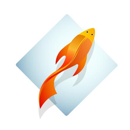 Vektor-Zeichen Goldfisch im Aquarium Standard-Bild - 53274357