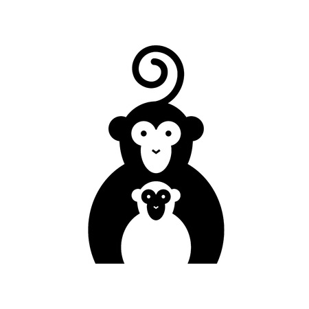 chimpanzees: Vector sign two monkeys Illustration