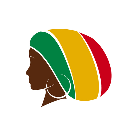 jamaican adult: Vector profile of jamaican woman with hat