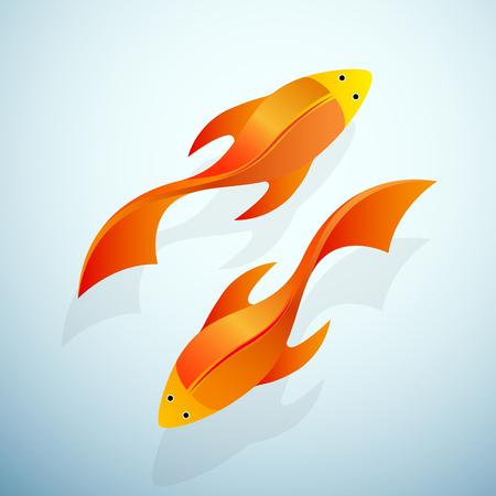 frozen fish: Vector sign goldfish in aquarium