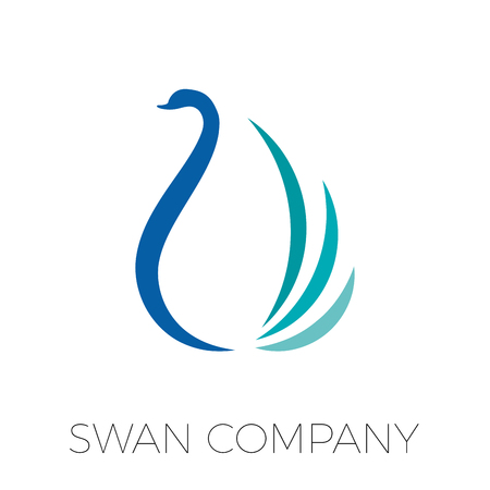 courtship: Vector sign stylized swan