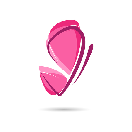 beauty and health: Vector sign pink butterfly