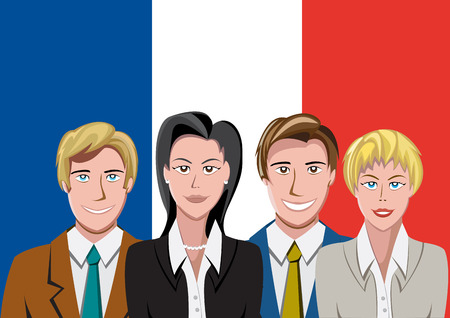 french flag: French people front of the flag
