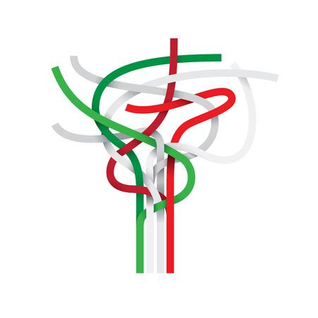 drapeau mexicain: Signe vecteur noeud abstrait, italien et drapeau mexicain Illustration