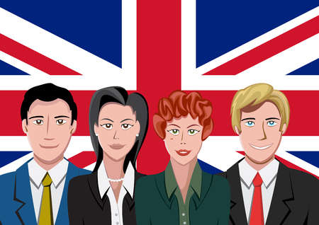 british people: British people front of the flag Illustration