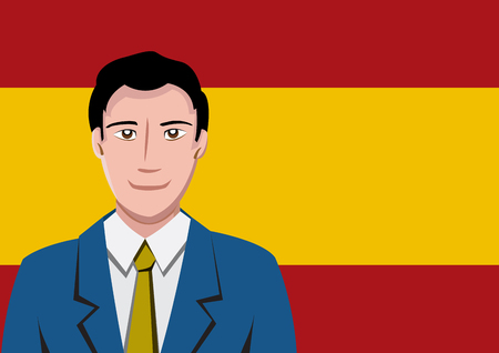 spanish flag: Spanish people front of the flag
