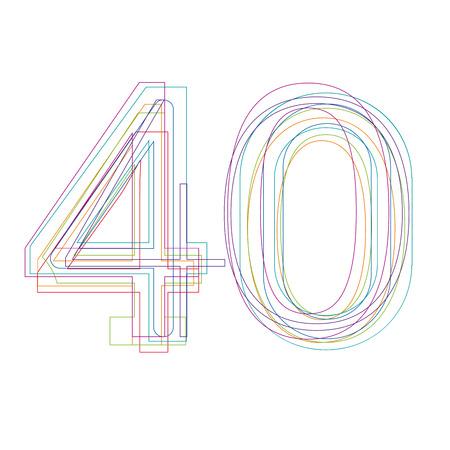 40: number 40 in outline Illustration