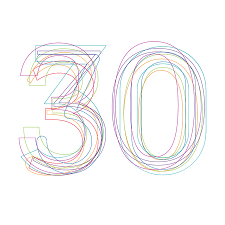 the 30: number 30 in outline Illustration