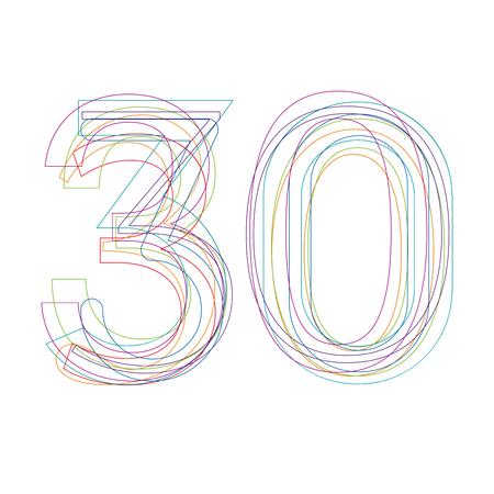 number 30 in outline Illustration